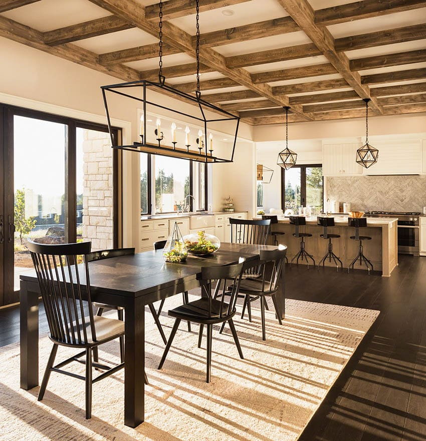 Beautiful dining room leg table off open concept kitchen