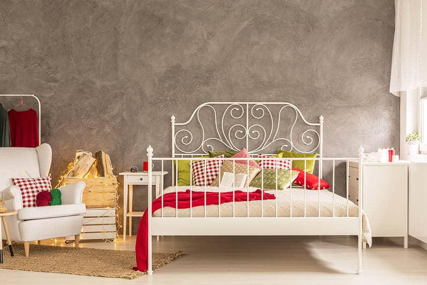 Bed frame mounted headboard with white powder coating traditional design