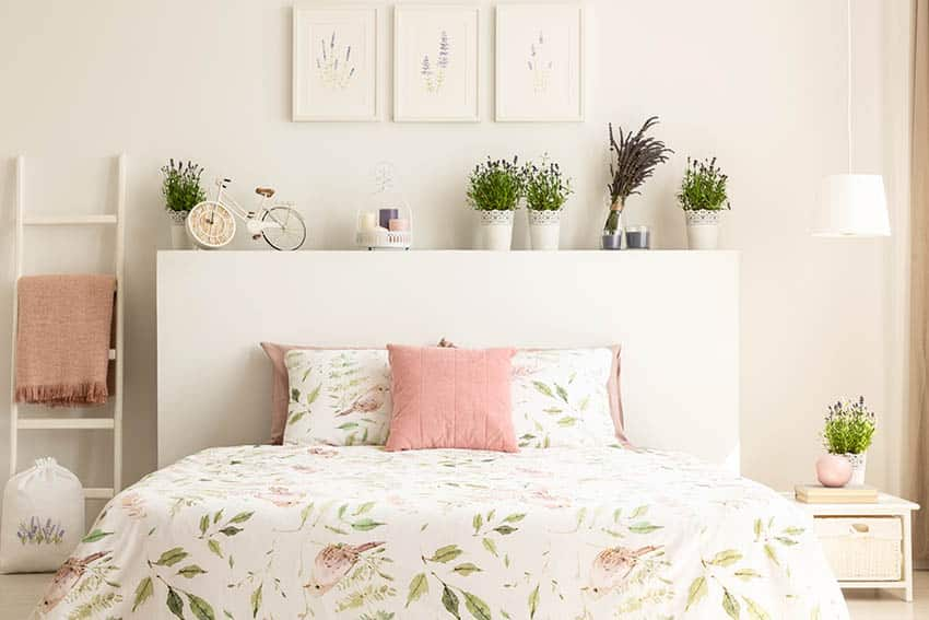 Bed with painted headboard