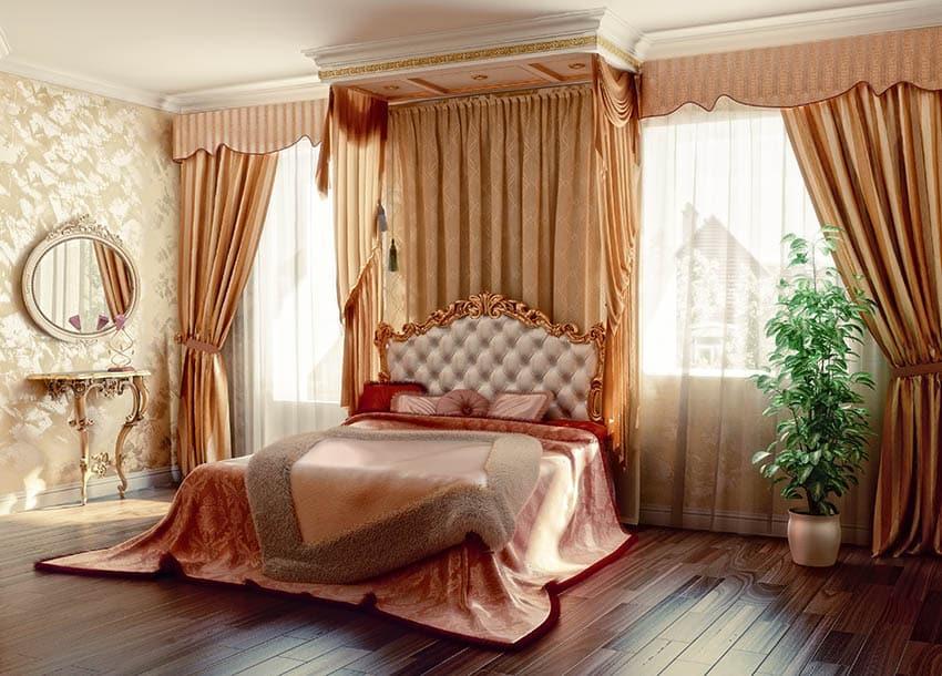 Bedroom with drapery valance set