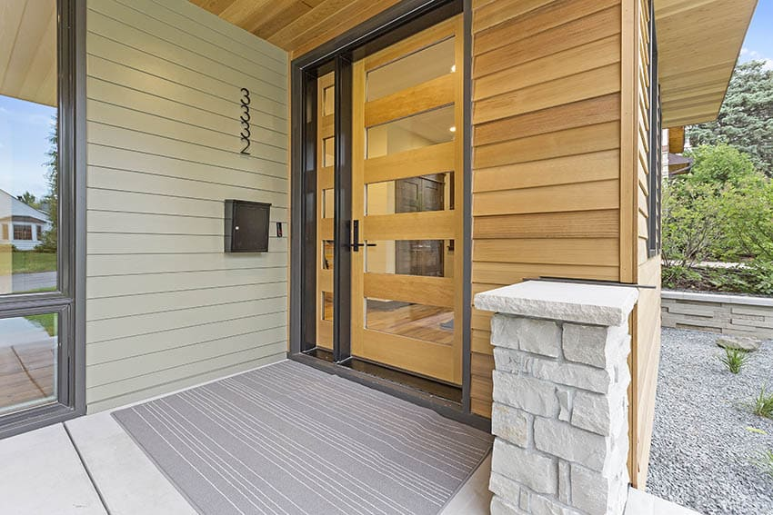 Contemporary front door with one sidelight
