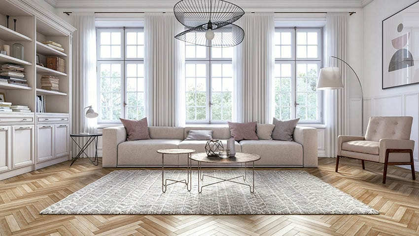 Contemporary living room with drapes wood flooring built in bookcase