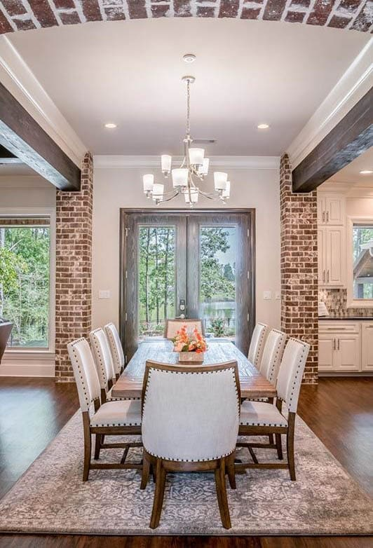 Dining room brick wood beams