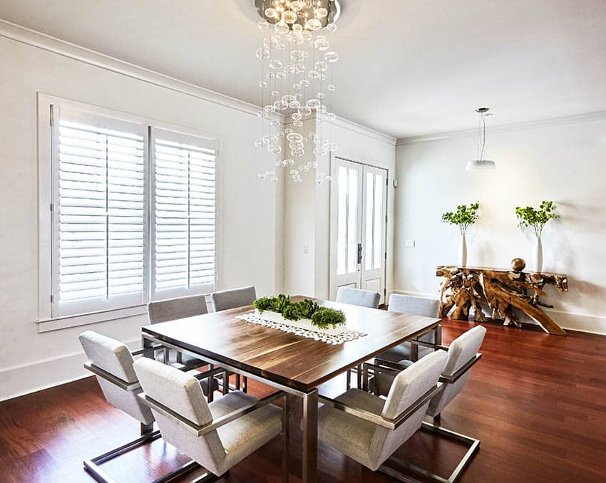 Dining room with plantation shutters