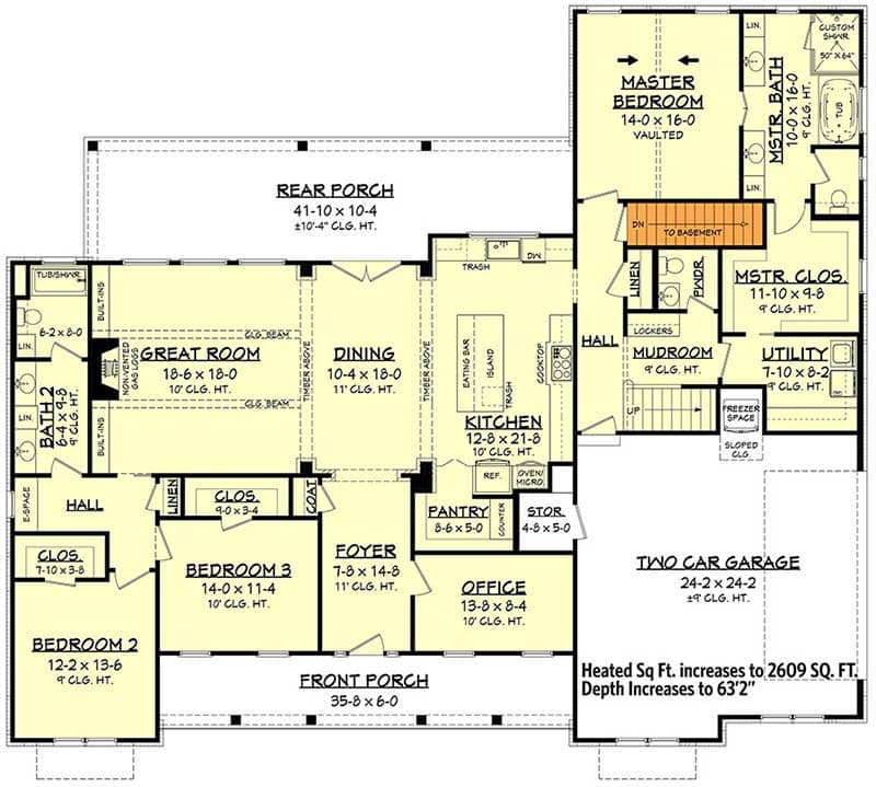 Floor plan with stairs to basement