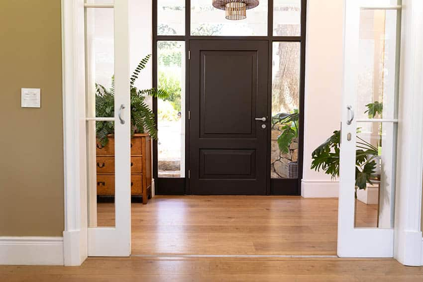 Front door with sidelights and transom window