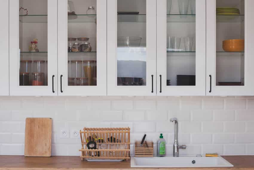Glass cabinets kitchenware sink countertop