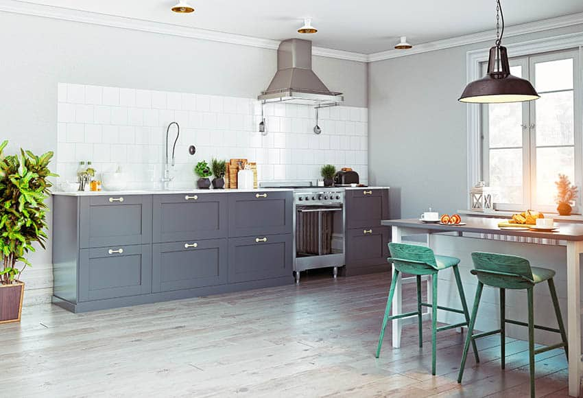 Gray hardwood floors in kitchen dining room