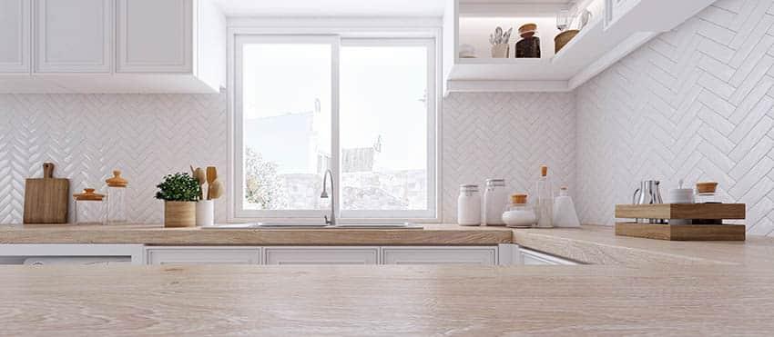 Kitchen sliding pass through window above sink
