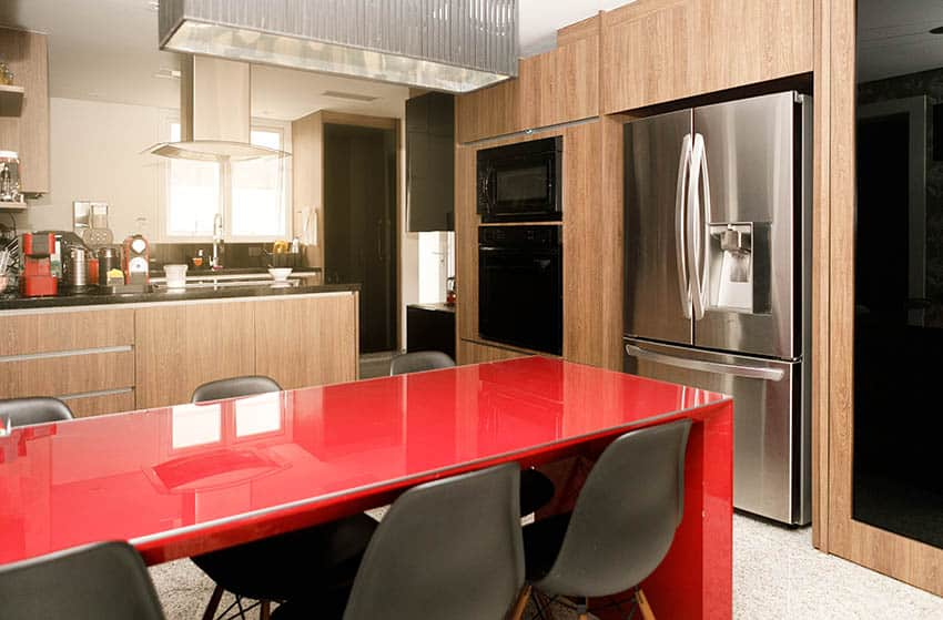 Kitchen with red laminate countertops