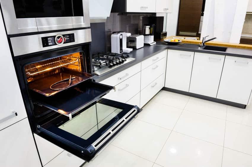 Modern kitchen center island appliances tile floors