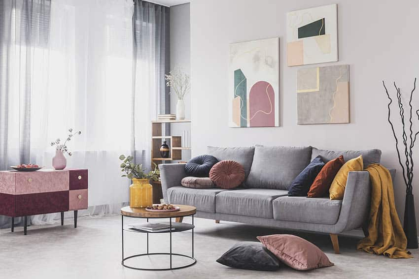 Living room with sheer curtains