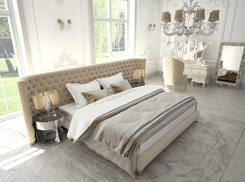 Luxury bed with oversized tufted headboard