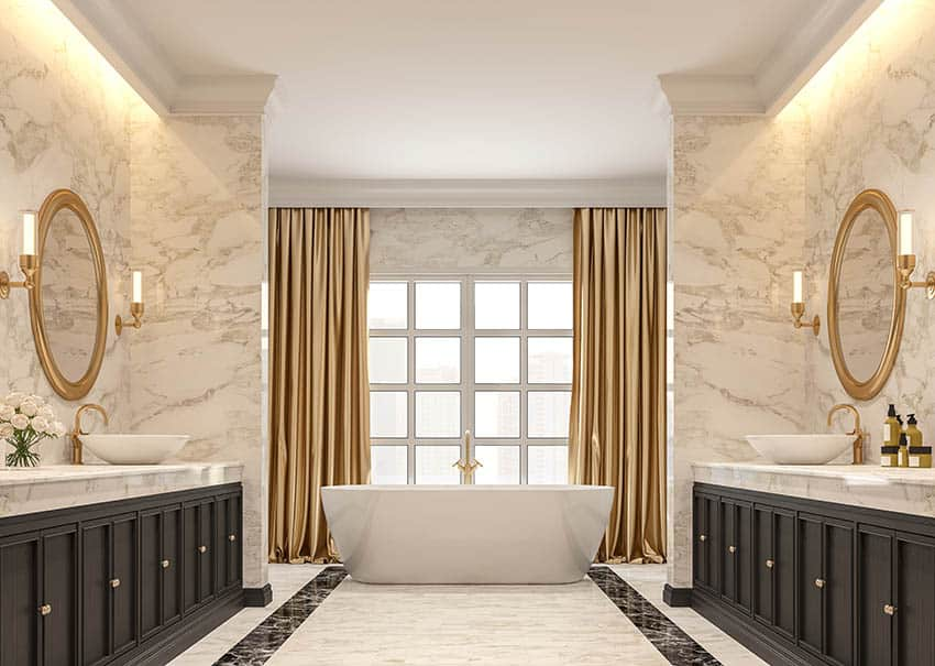 Master bathroom with panel pair drapes over tub
