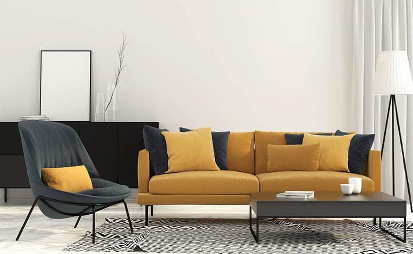 Matching yellow and black furniture decor living room