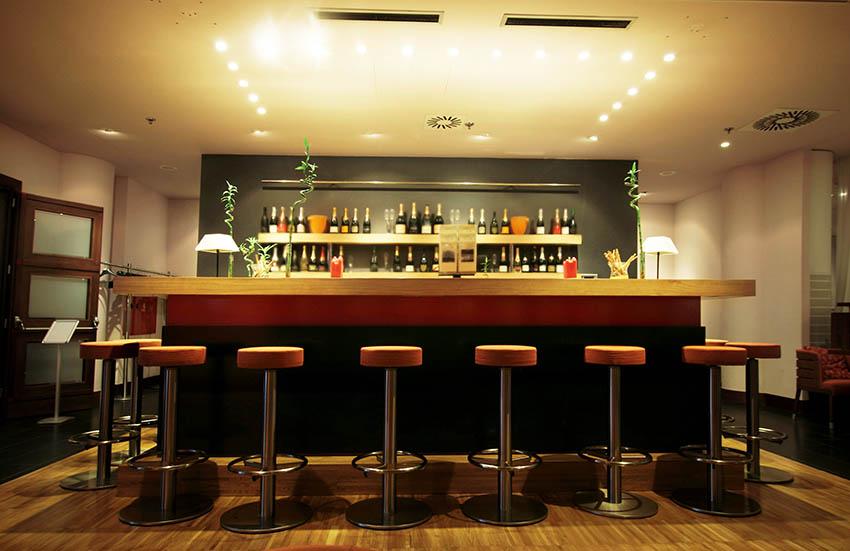 Modern basement bar with led lighting