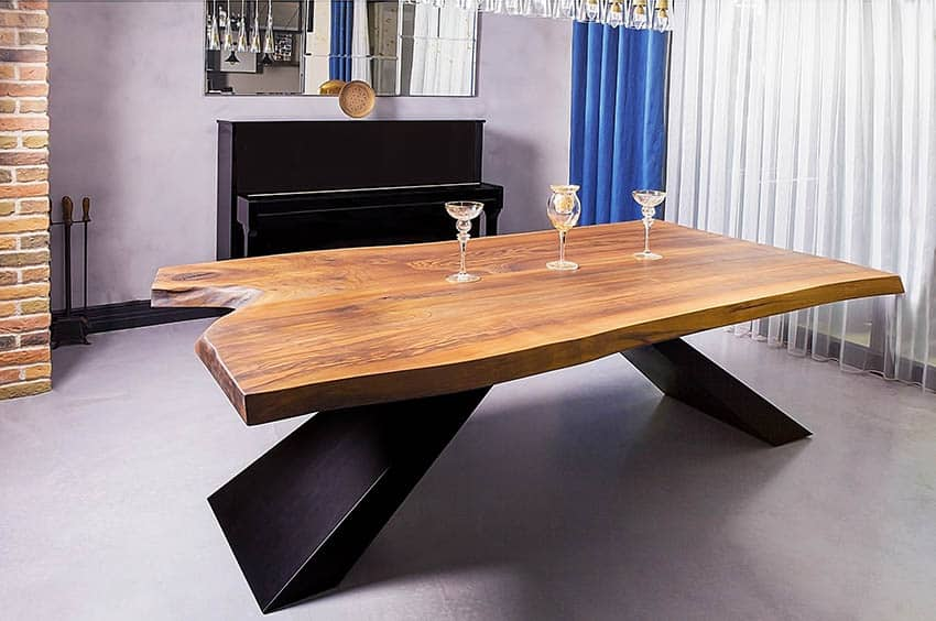 Modern dining table with live edge wood table top