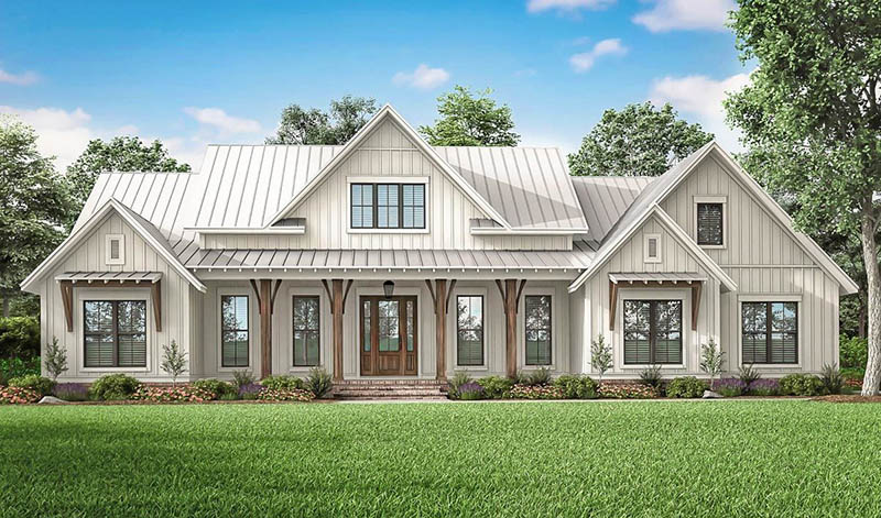 Modern farmhouse plan 2 story 4 bedroom exterior front