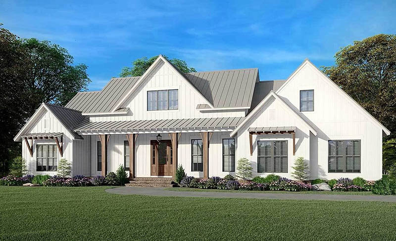 Modern farmhouse plan 2 story 4 bedroom with covered porch