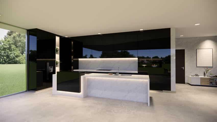 Modern kitchen island black cabinets