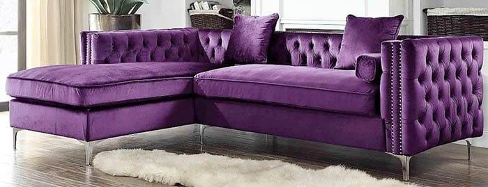 Modern purple velvet button tuft sofa