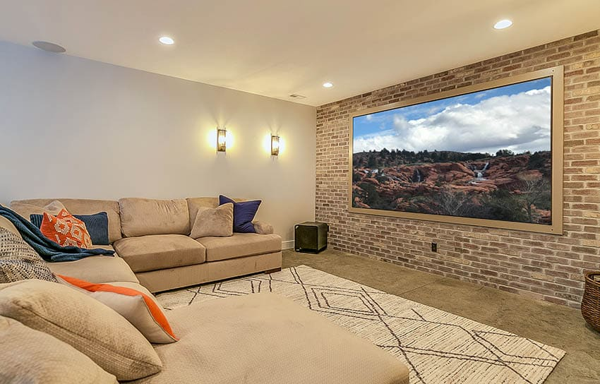 Movie room with projector screen