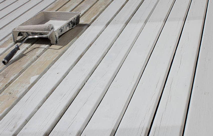 Oil painting wood deck