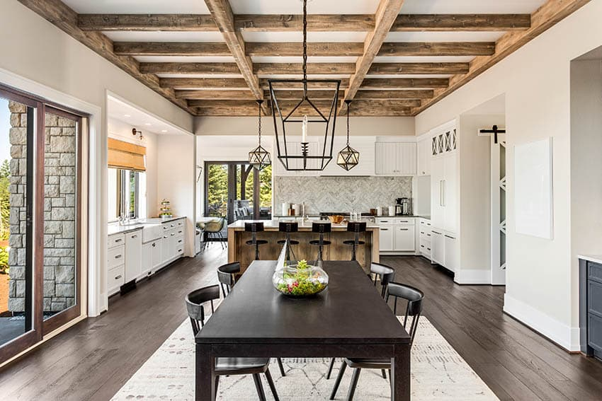 Open concept dining kitchen with dark wood flooring
