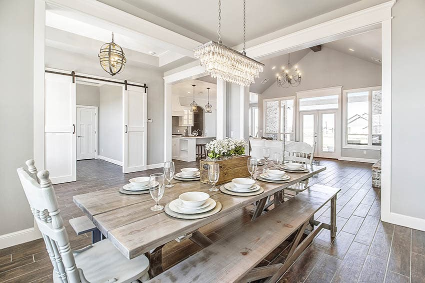 Painted wood dining chairs and rustic bench
