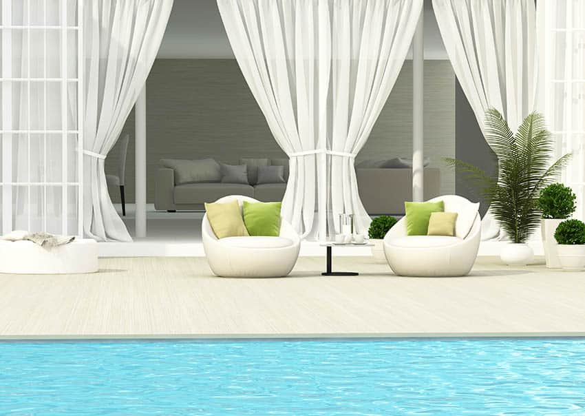 Pool cabana with outdoor curtains