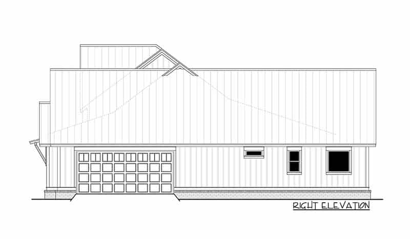 Right elevation with garage