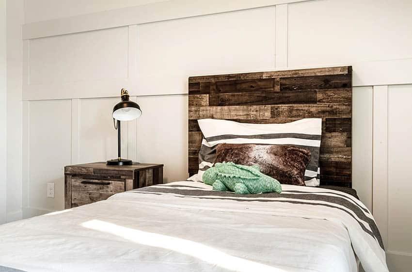 Rustic wood headboard