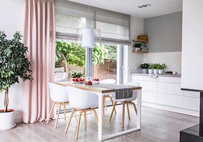 Single panel curtain in kitchen
