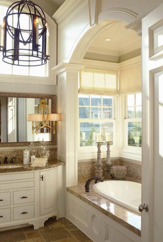Spa style bathroom with alcove tub