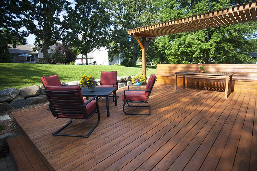 Stained deck with pergola