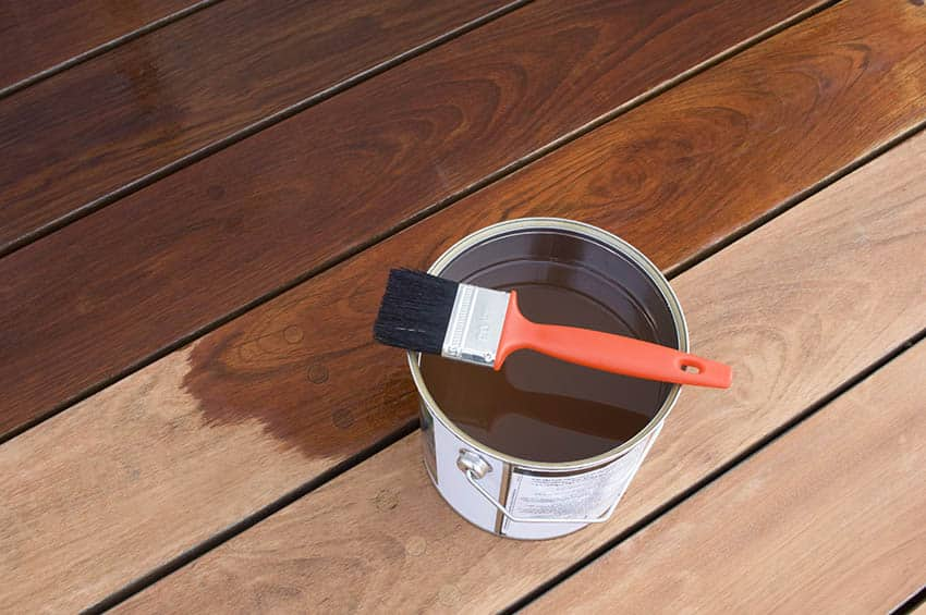 Staining wood deck