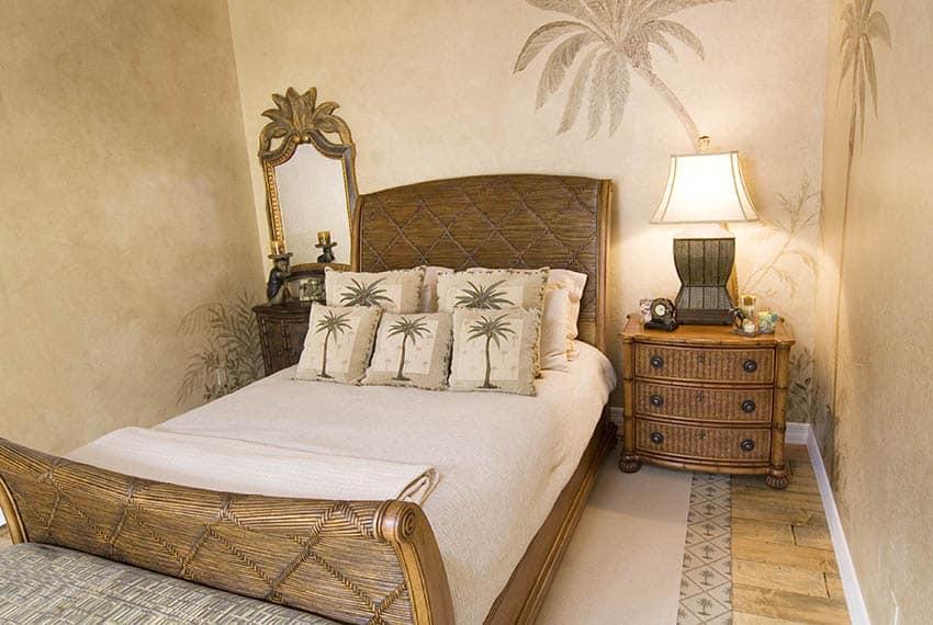 Tropical bedroom with rattan tall headboard