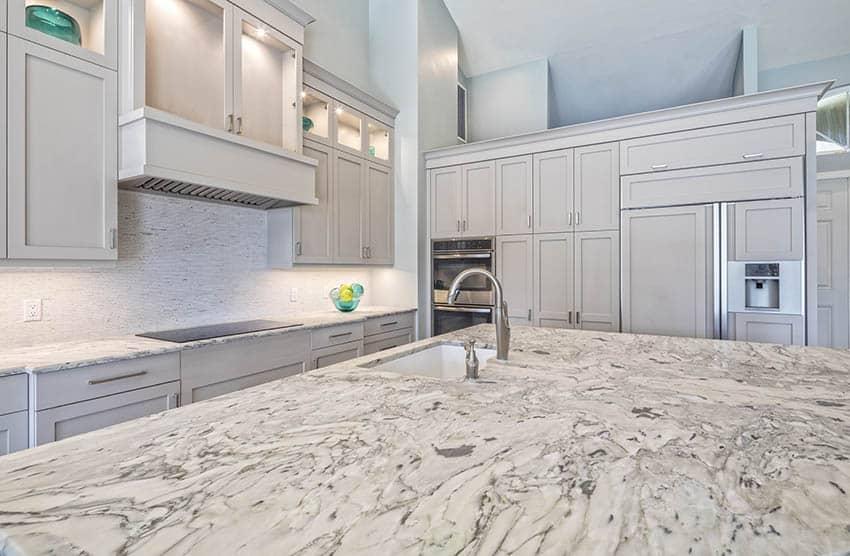 White granite countertop island