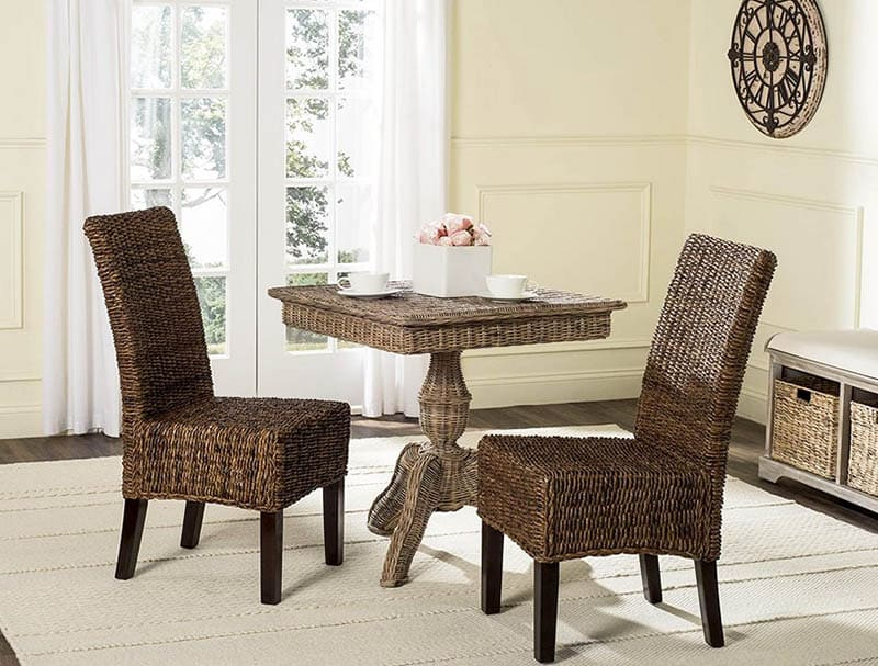 Wicker dining chairs set