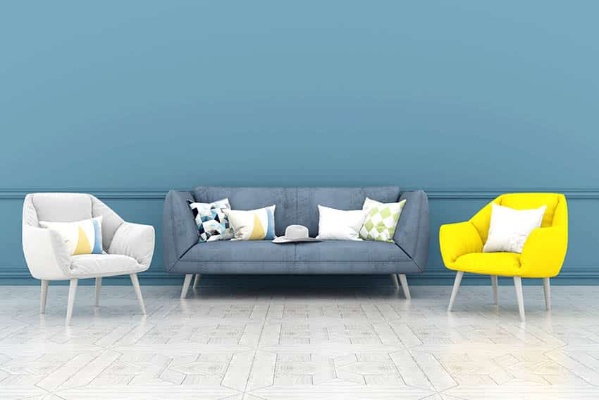 Yellow, gray and blue color matched living room design