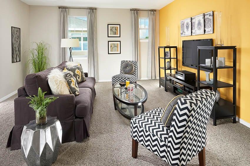 Yellow light gray living room design