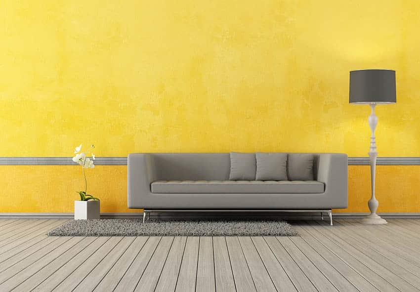 Yellow living room with gray sofa