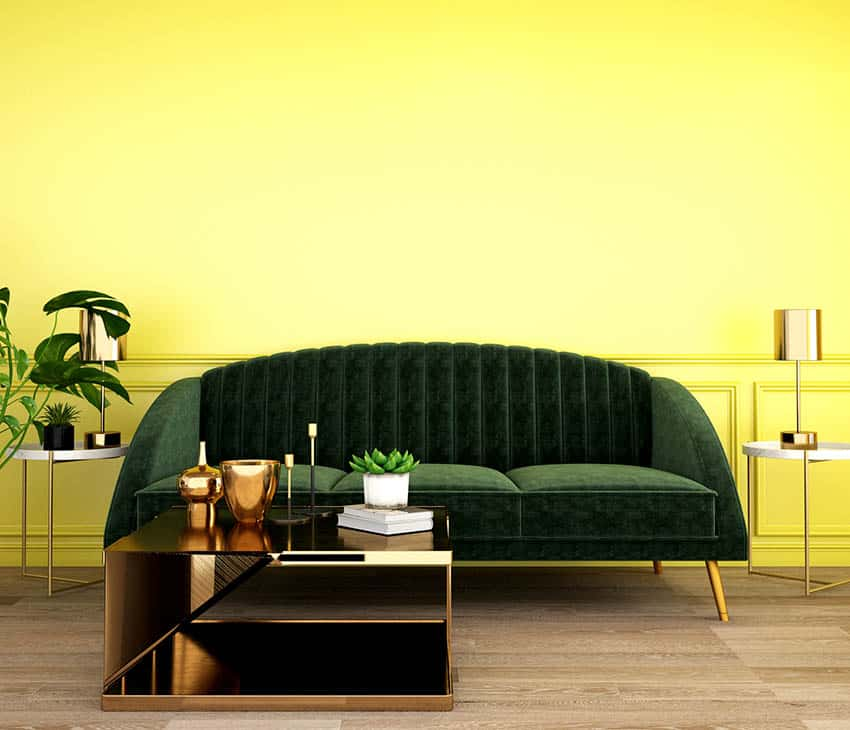 Yellow living room with green couch