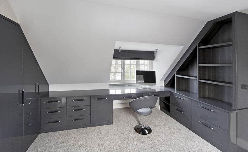 Attic home office with beige nylon carpet