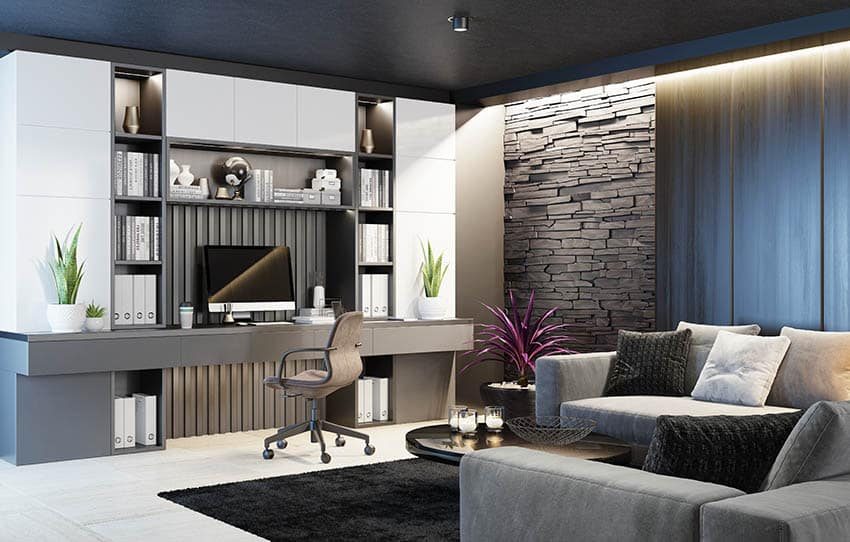 Basement home office design with built in desk living room sectional accent wall