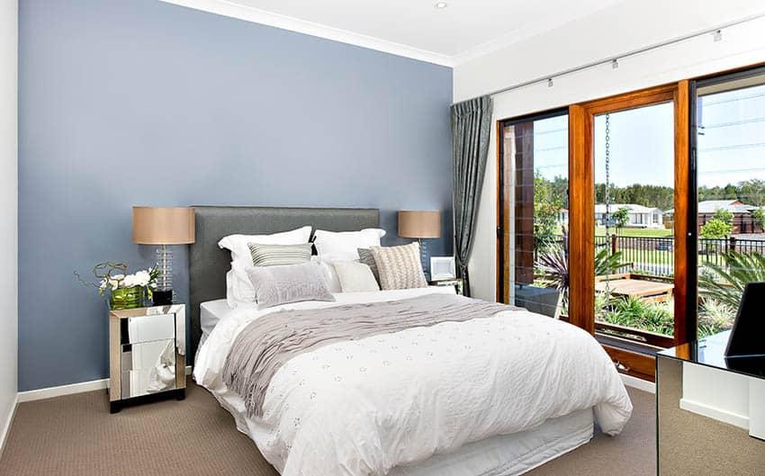 Bed with euro pillow lumbar pillow and standard pillow