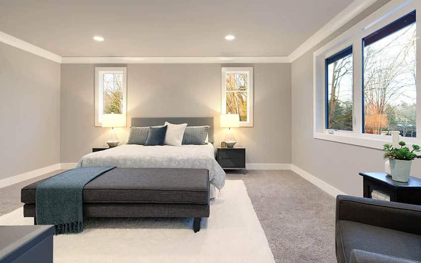 Bedroom with dark beige carpet