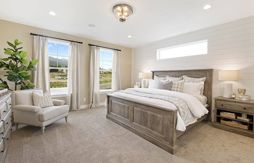 Bedroom with flush dome ceiling light with glass fixture