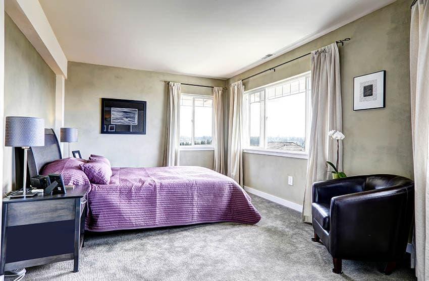 Bedroom with gray nylon carpet