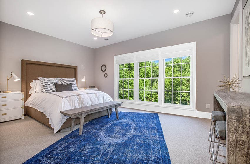 Bedroom with semi flush ceiling light